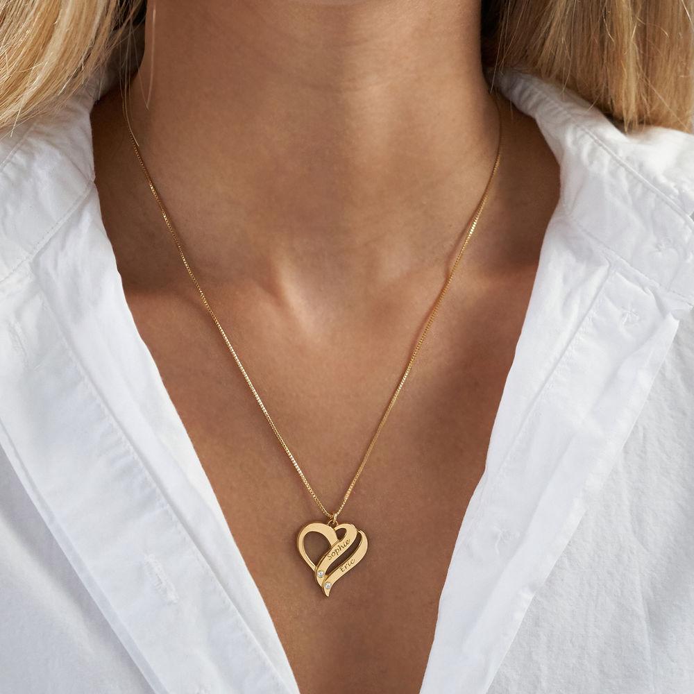 Halskjede med to hjerter og diamanter i gullbelegg - 2