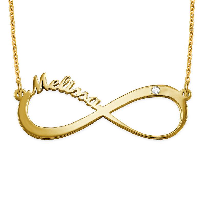 Infinity-navnesmykke med diamant i gullbelegg - 1