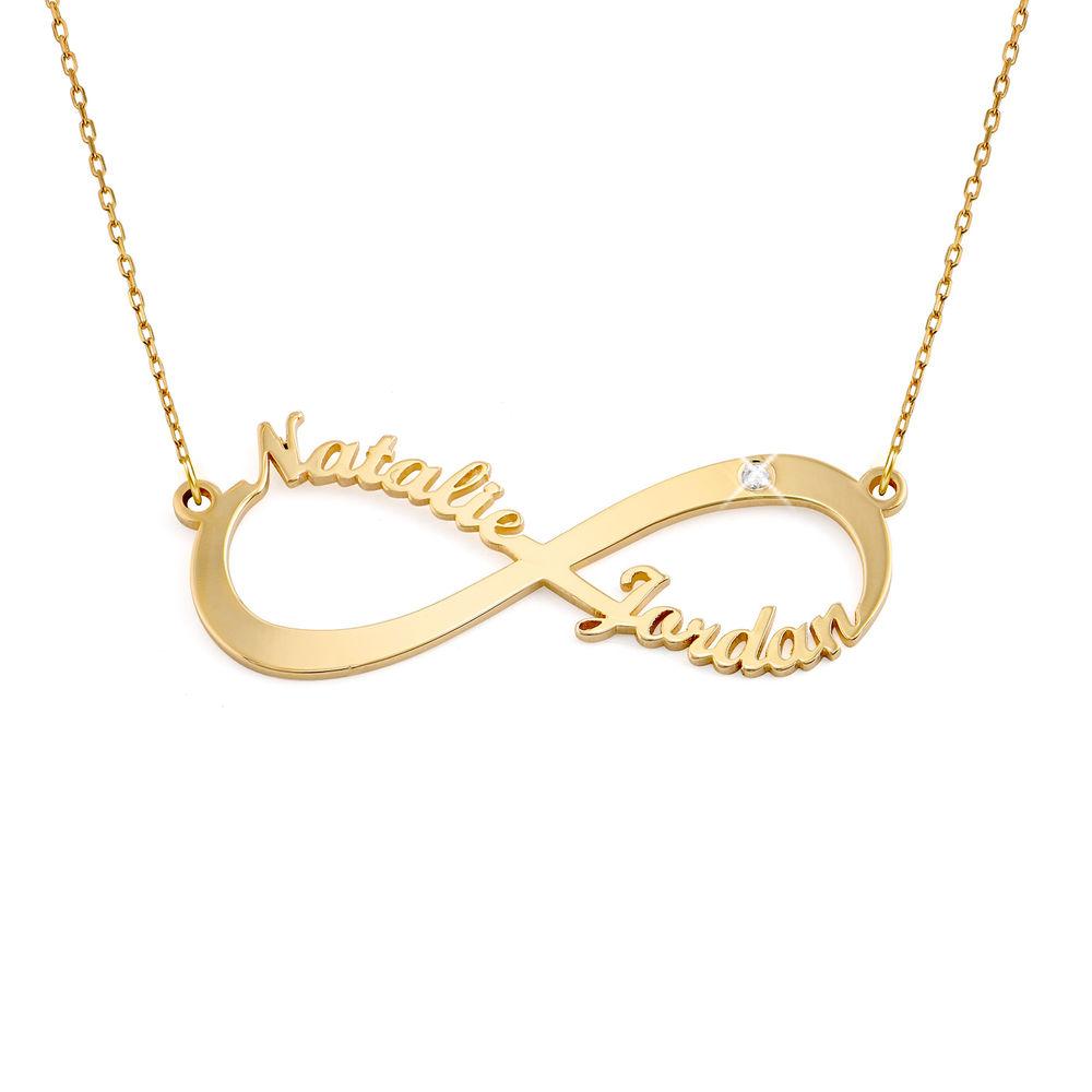 Infinity navnekjede i 10k gull med diamant