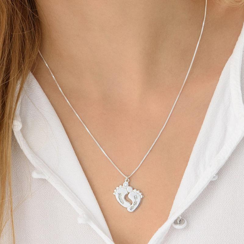 Diamanthalskjede med babyføtter i sterlingsølv - 2