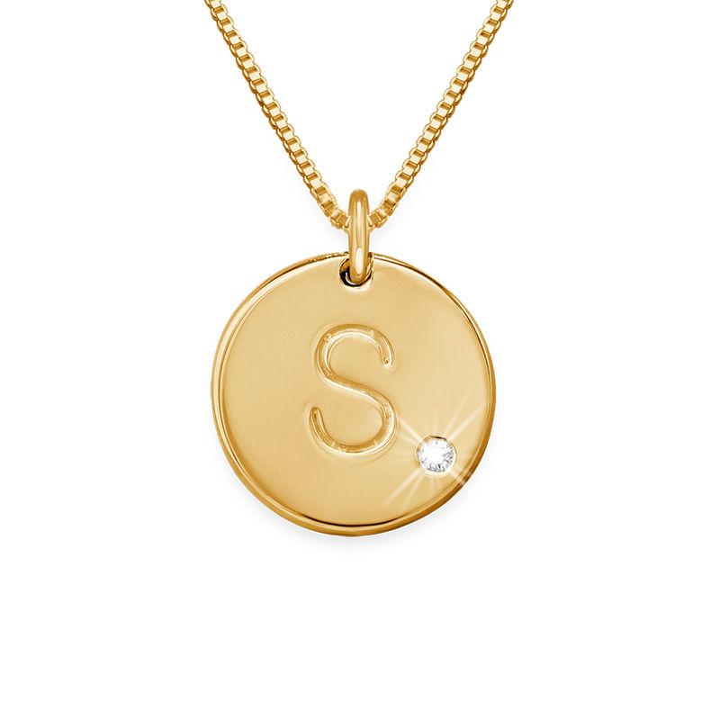 Halskjede med bokstavanheng med diamant i 18k gull-vermeil