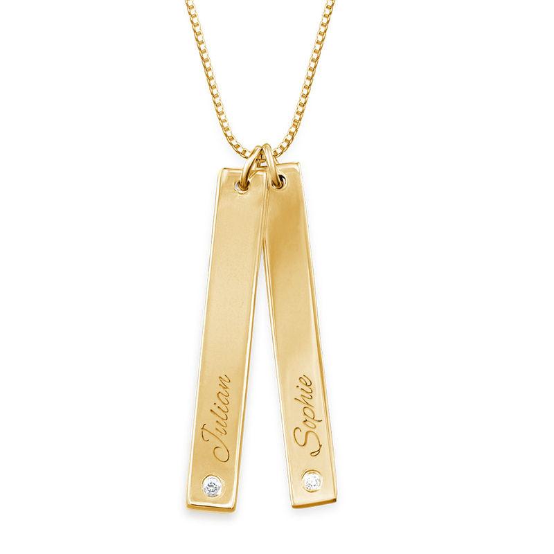 Diamanthalskjede med staver i gullbelegg