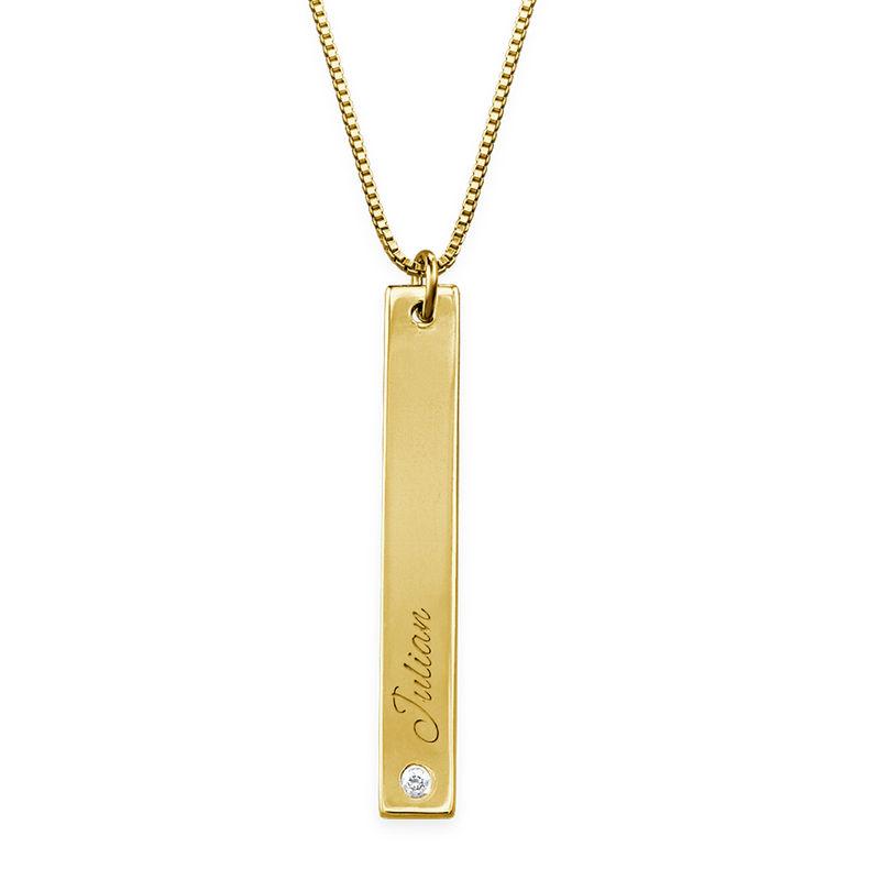 Diamanthalskjede med staver i gullbelegg - 1