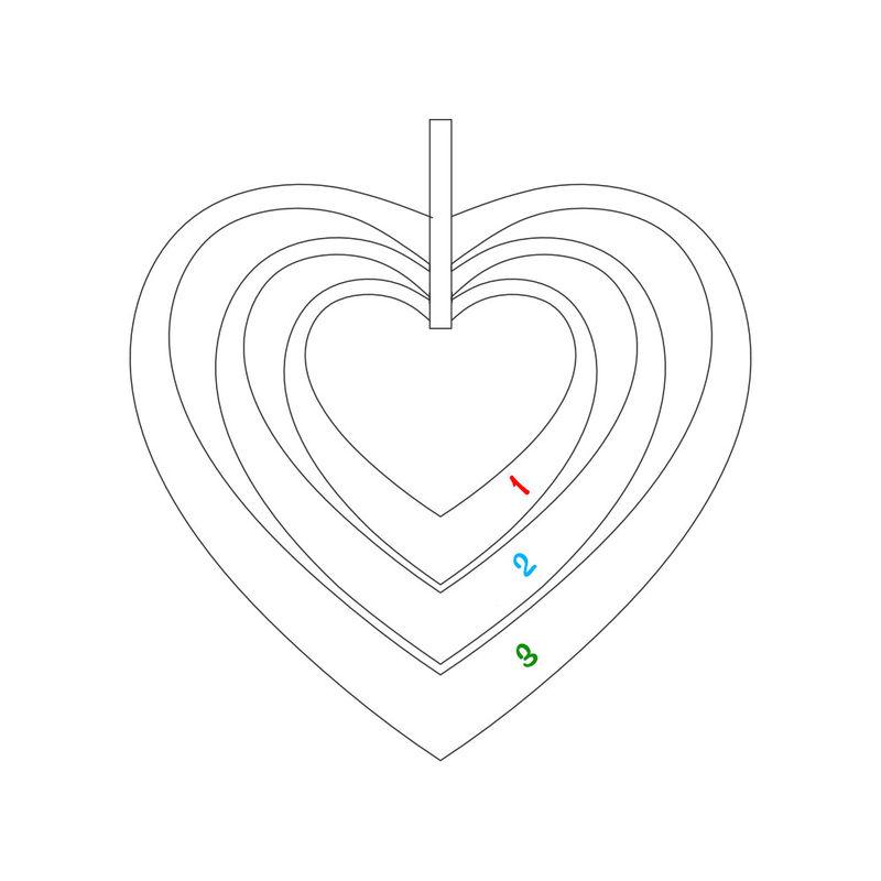 Familie hjertesmykke i hvitt gull - 4