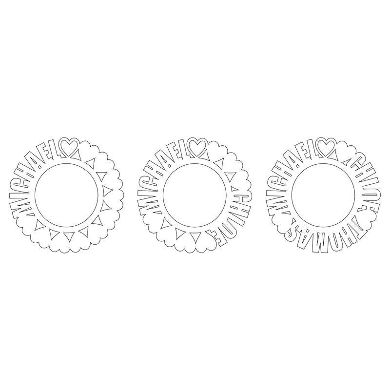 Navnesmykke med sirkel i sterlingsølv og med diamanteffekt - 4