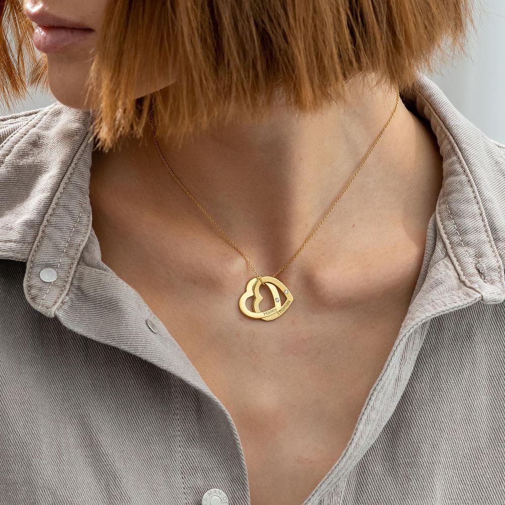 Diamant sammenflettet hjertekjede i gull vermeil - 2