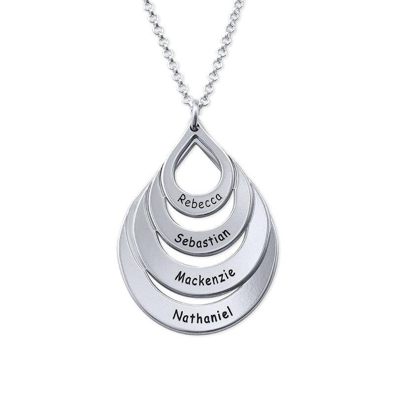 Familie smykke med gravering i sølv - fire dråper