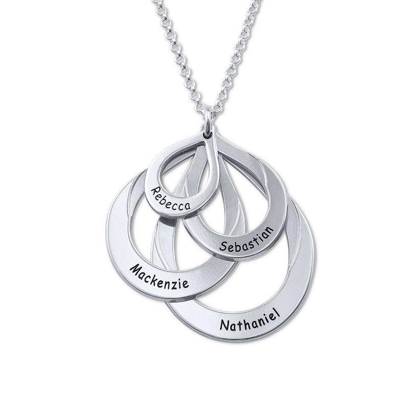 Familie smykke med gravering i sølv - fire dråper - 1