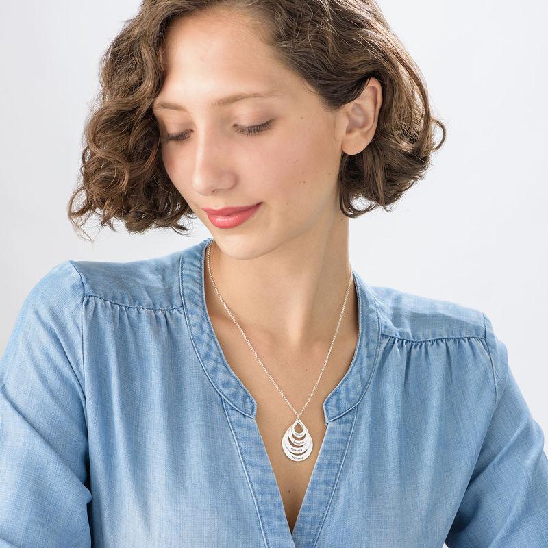 Familie smykke med gravering i sølv - fire dråper - 5
