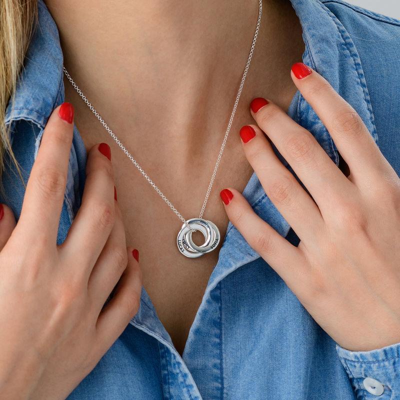 Russiske ring halskjede i sølv - buet 3D-design - 4