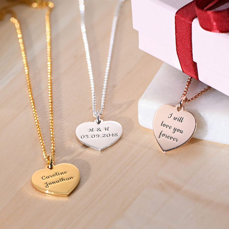 Hjertesmykke i gullforgylt sølv - 1