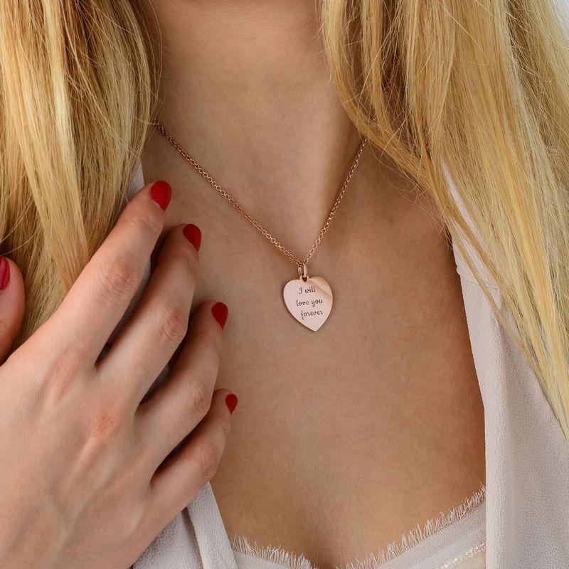 Hjertesmykke i roseforgylt sølv - 3