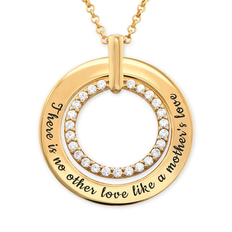 Gravert smykke med sirkel i gullbelegg