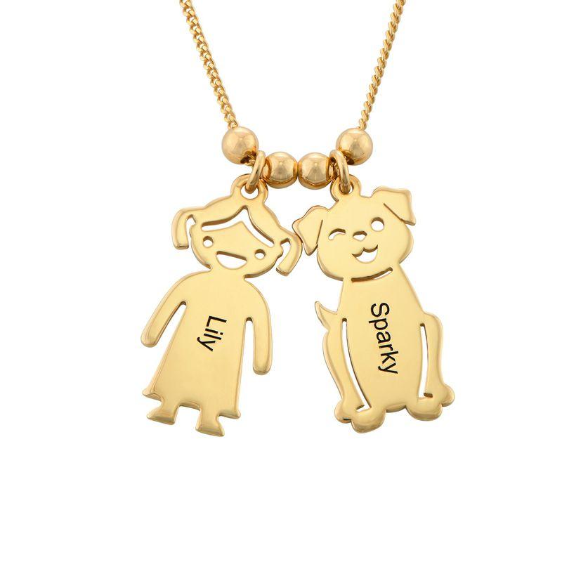 Morssmykke med graverte barnecharms og katt-og-hund-charms i gullbelegg - 1