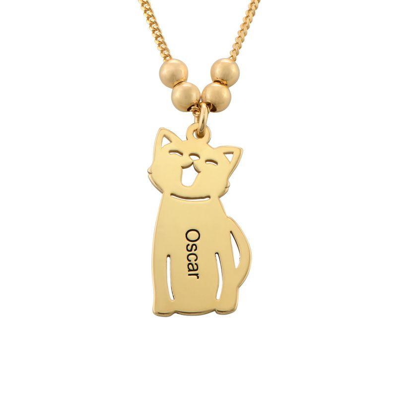 Morssmykke med graverte barnecharms og katt-og-hund-charms i gullbelegg - 2