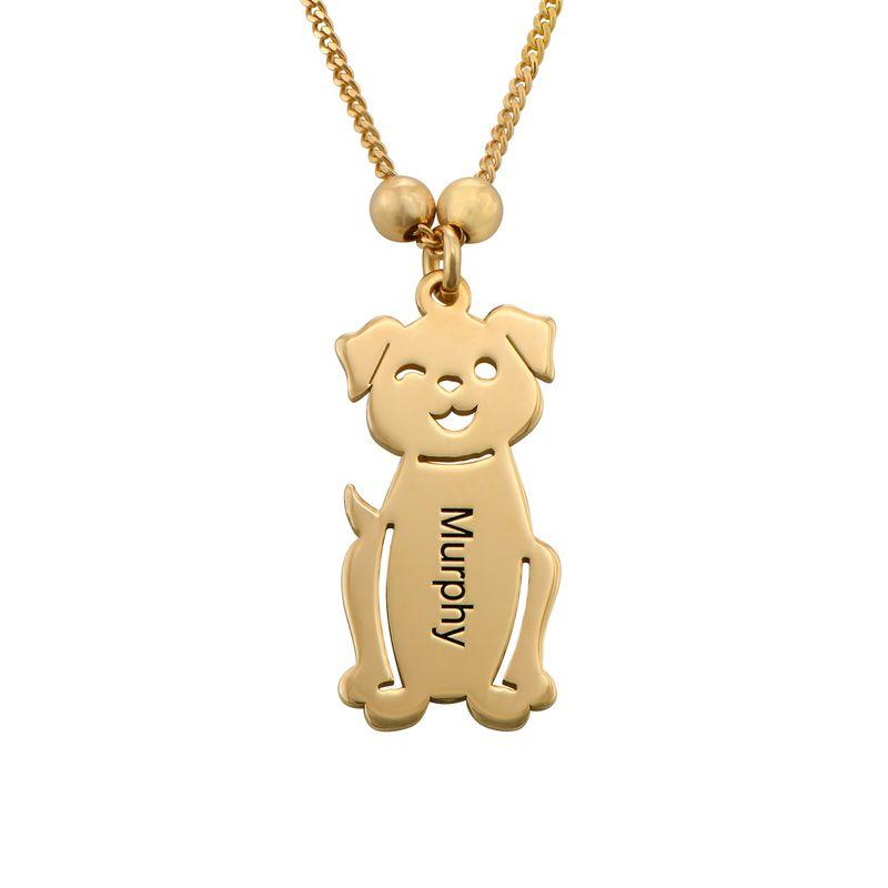 Morssmykke med graverte barnecharms og katt-og-hund-charms i gullbelegg - 3