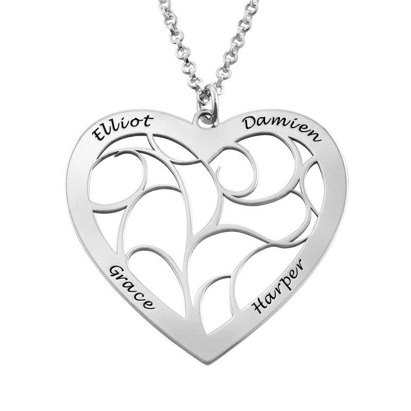 Livets tre smykke med hjerte i sølv