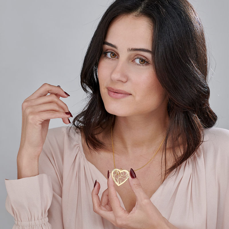 Livets tre smykke med hjerte i gullforgylt sølv - 2