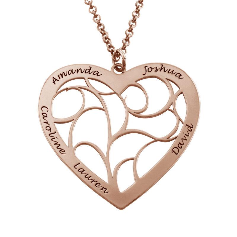 Livets tre smykke med hjerte i roseforgylt sølv