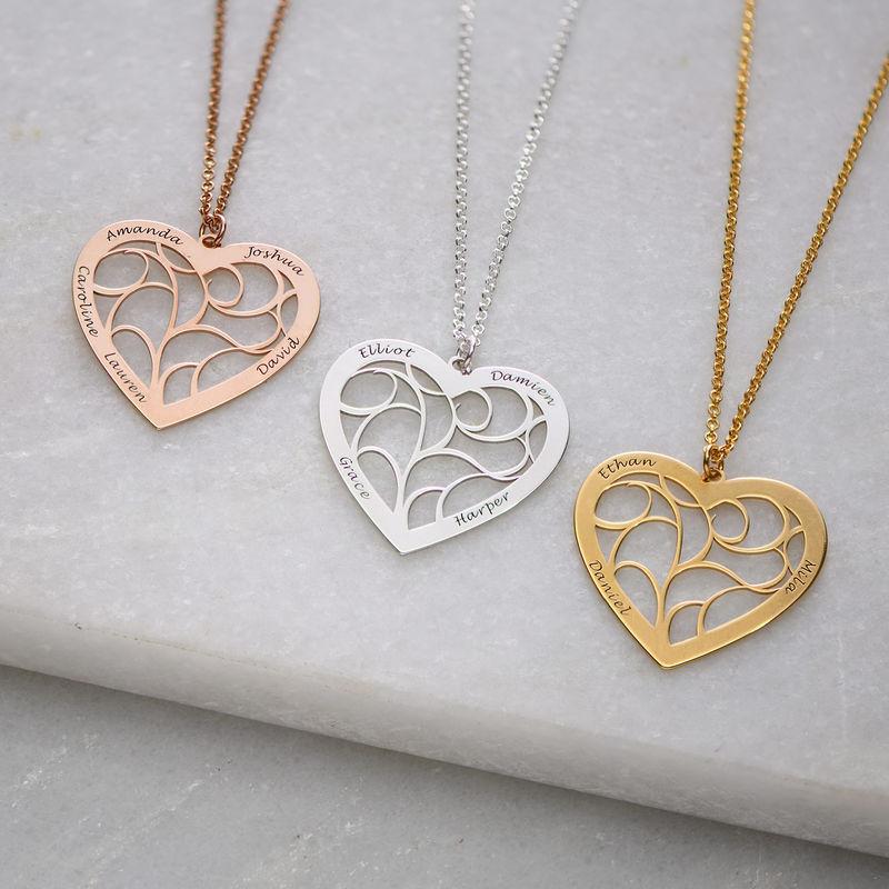Livets tre smykke med hjerte i roseforgylt sølv - 1