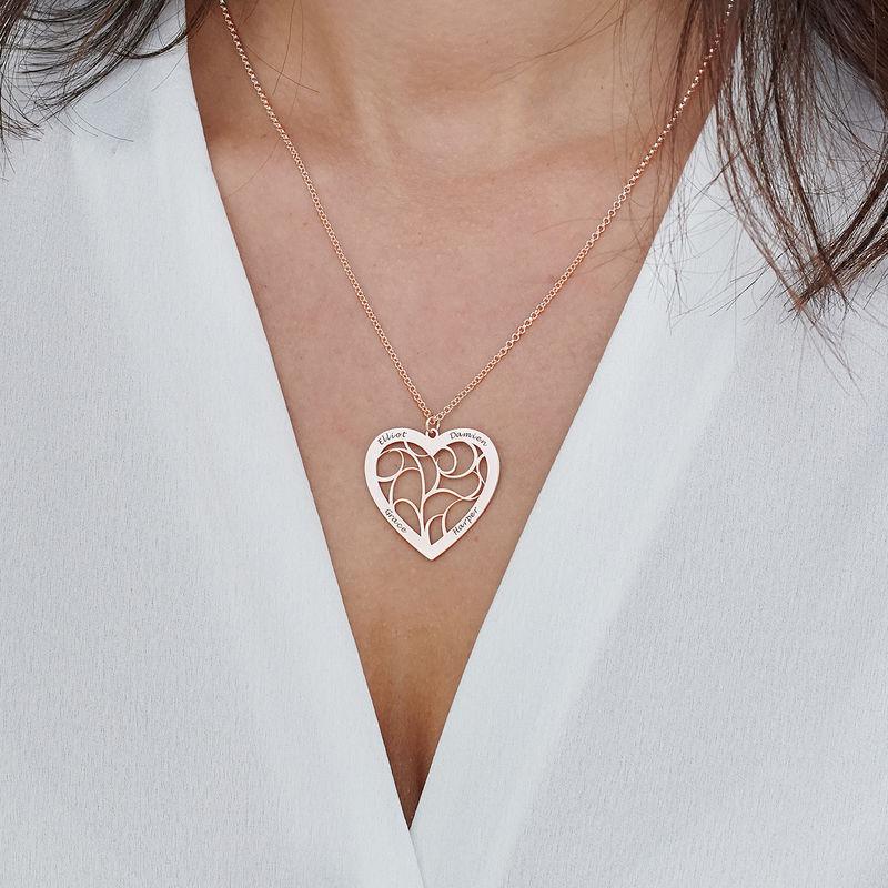 Livets tre smykke med hjerte i roseforgylt sølv - 3