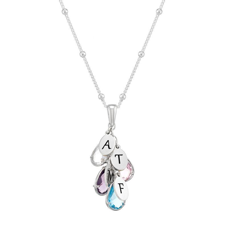 Tilpasset månedsstein smykke med dråpe for mamma i sølv