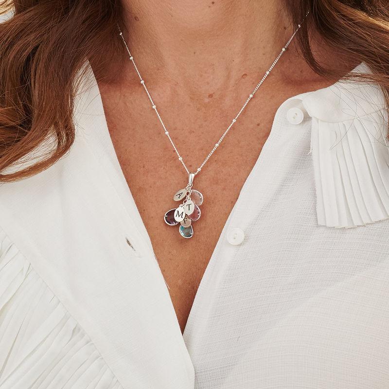 Tilpasset månedsstein smykke med dråpe for mamma i sølv - 3