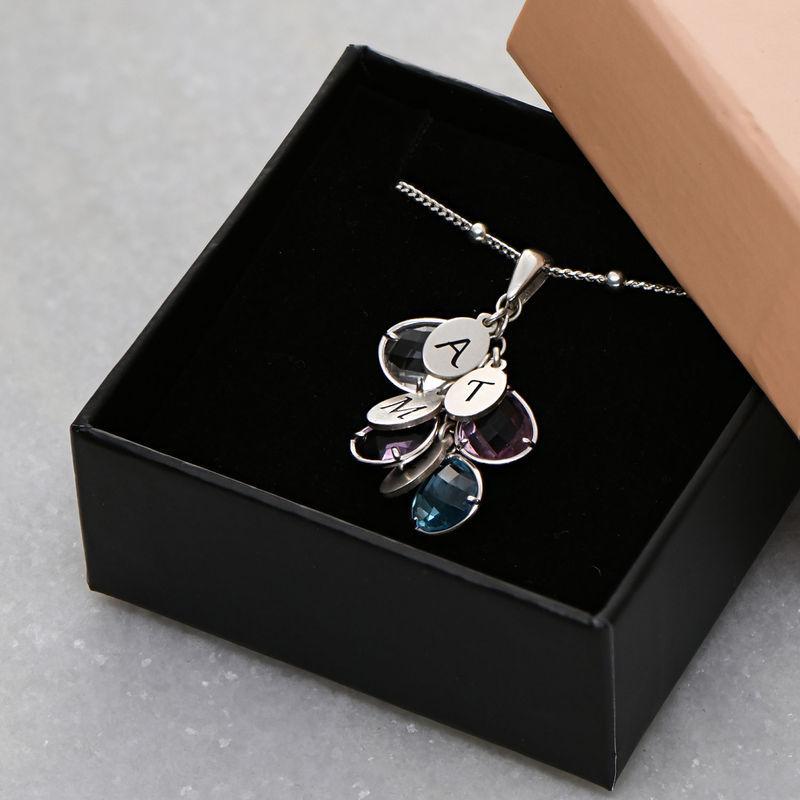 Tilpasset månedsstein smykke med dråpe for mamma i sølv - 4