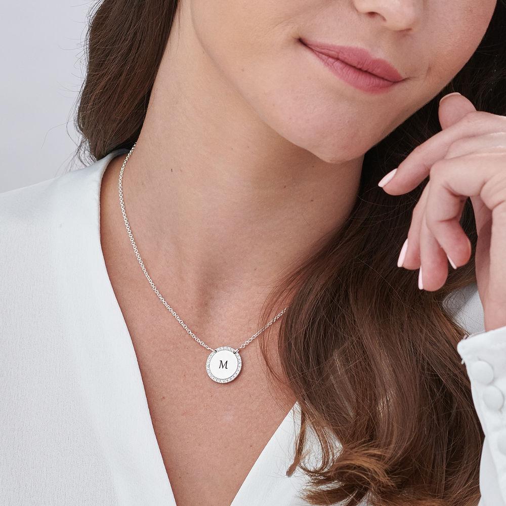 Personlig rundt cubic zirconia-smykke i sølv - 4