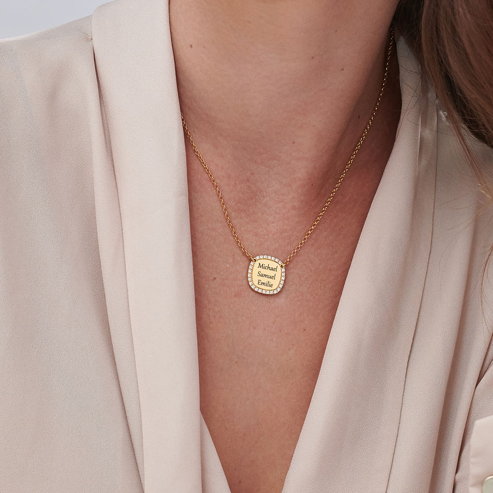 Firkantet cubic zirconia halskjede i 18k gullbelagt sølv - 4