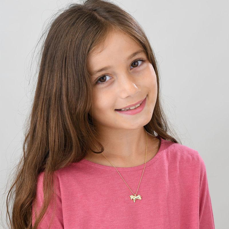 Enhjørning smykke for jenter i 10k gult gull med cubic zirconia - 1