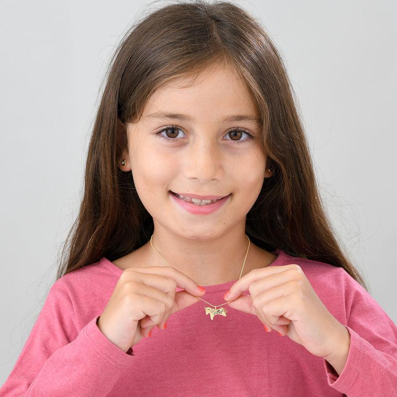 Enhjørning smykke for jenter i 10k gult gull med cubic zirconia - 3