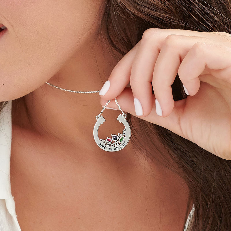 Smykke med halv sirkel med steiner i sterlingsølv - 4