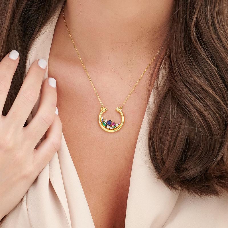 Smykke med halv sirkel med steiner med gullbelegg - 3