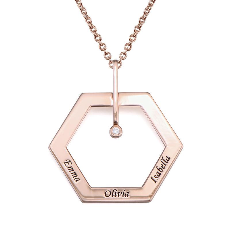 Personlig gravert hexagon smykke med diamant i rosegullbelegg