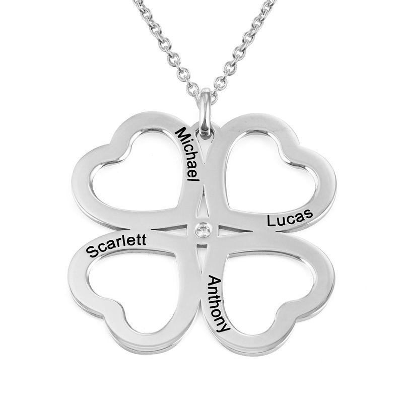 Firkløver halskjede i hjerteform med diamant i sølv
