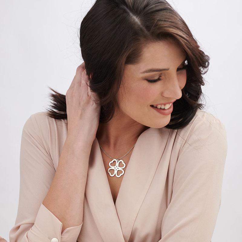 Firkløver halskjede i hjerteform med diamant i sølv - 2