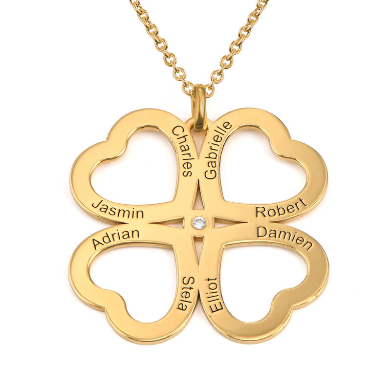 Firkløver halskjede i hjerteform med diamant i gullbelegg
