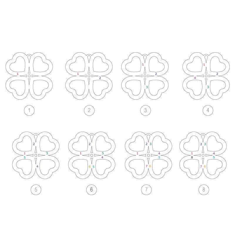 Firkløver halskjede i hjerteform med diamant i gullbelegg - 4