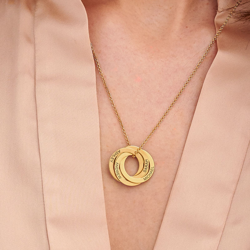 Russisk ring-halskjede 4 ringer i 18K gull vermeil - 2