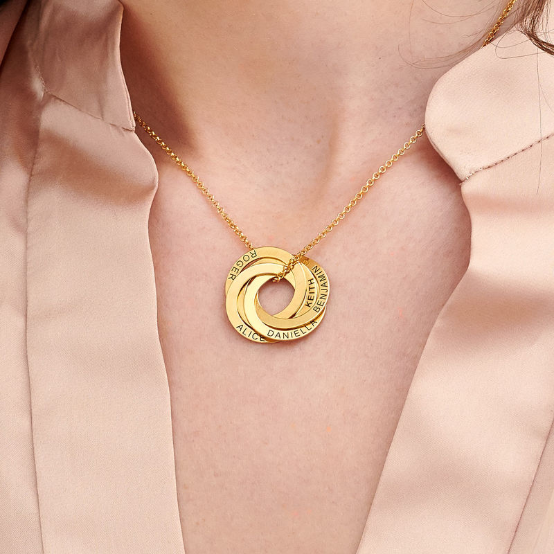 Russisk ring-halskjede 5 ringer i 18k gull vermeil - 2