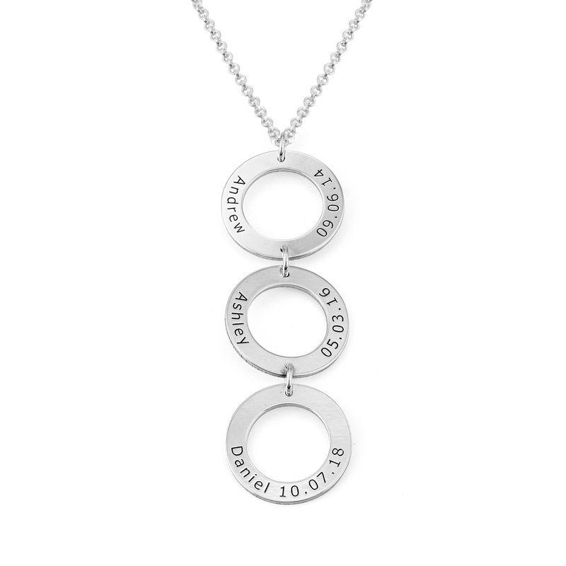 Graveret smykke med 3 sirkel anheng i sølv