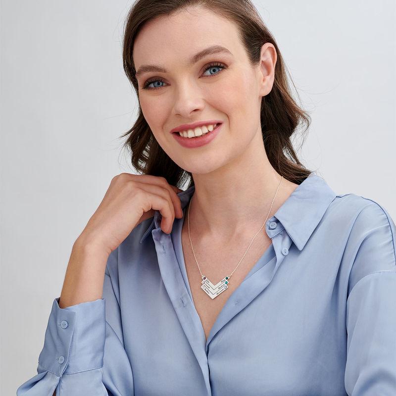 Personlig mamma smykke med Swarovski i sølv - 2