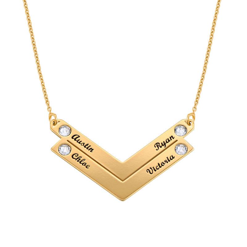 Personlig mamma smykke med Swarovski i gullforgylt - 2