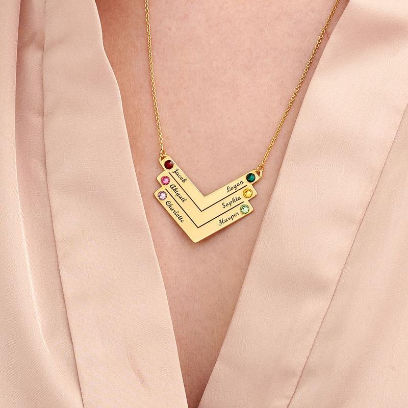 Personlig mamma smykke med Swarovski i gullforgylt - 4