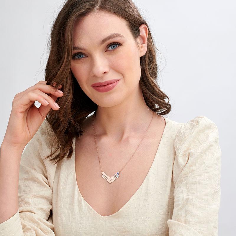 Personlig mamma smykke med Swarovski i roseforgylt - 1