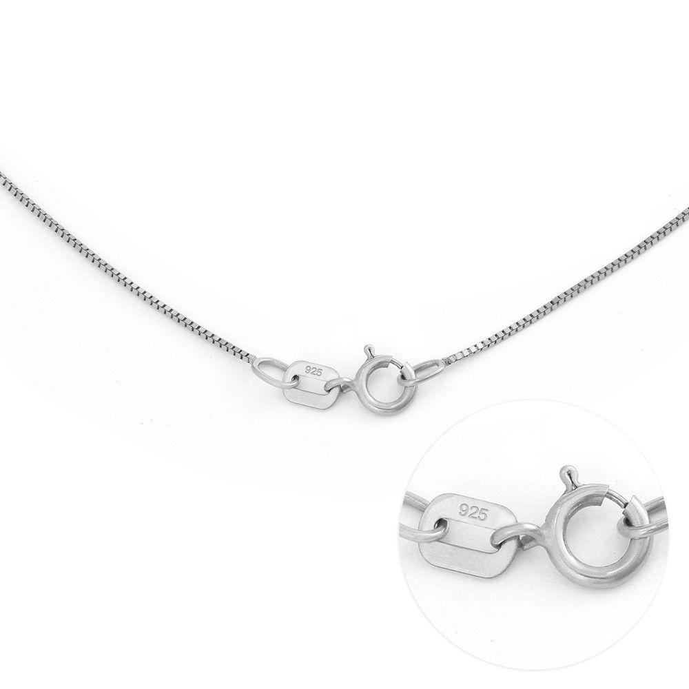 Familiesmykke med navneanheng og blad i sølv med diamant - 6