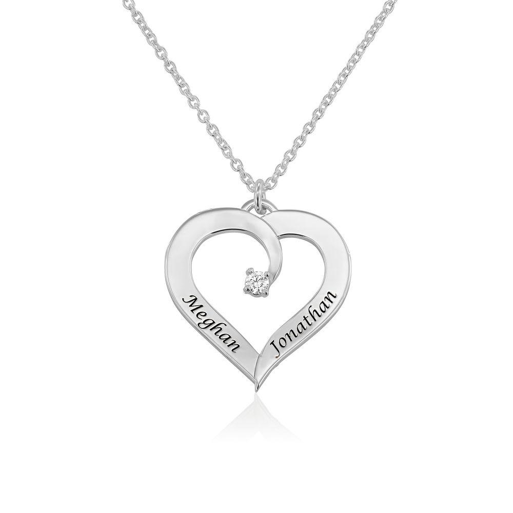 Diamant hjertehalskjede i sterling sølv