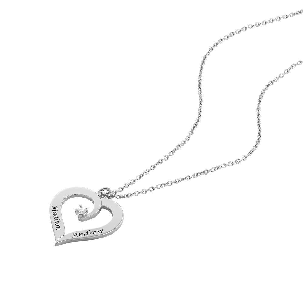 Diamant hjertehalskjede i sterling sølv - 1
