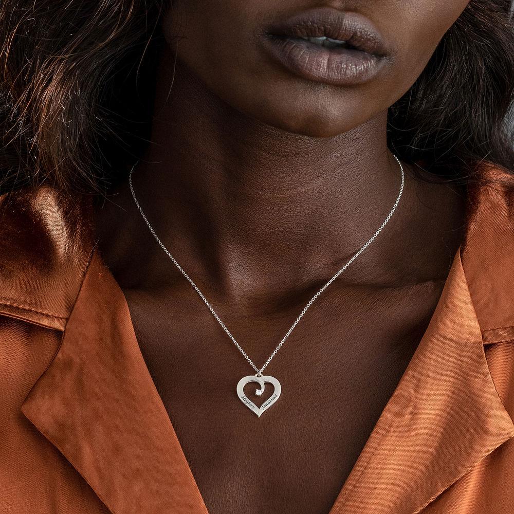 Diamant hjertehalskjede i sterling sølv - 3